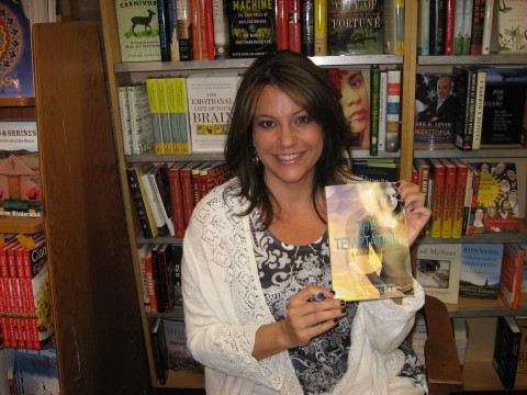 Author Alisa Valdes and her YA novel The Temptaion. At Bookworks bookstore in Albuquerque.