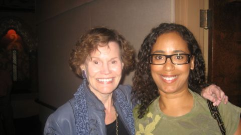 Judy Blume and me! Gwen Goldsmith, a Minister who played the Rabbi in the movie, took this photo for me. Talk about divine intervention.