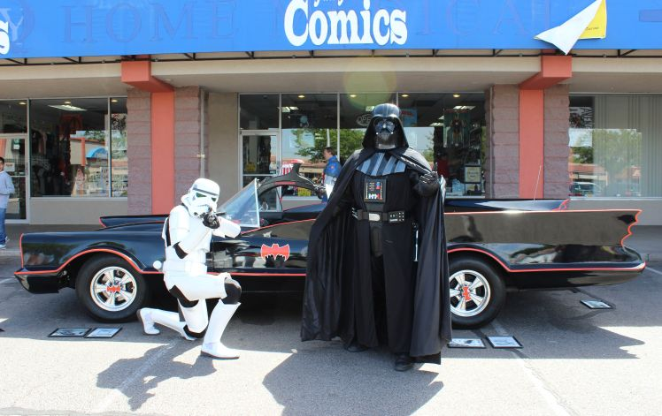 Batmobile and Storm Trooper and Vader