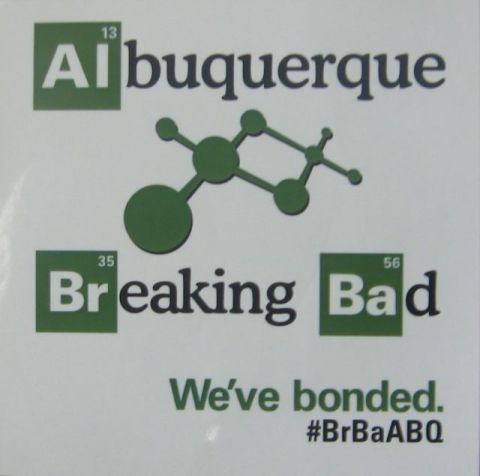 Sticker from the Breaking Bad finale watch party at the Hotel Albuquerque.