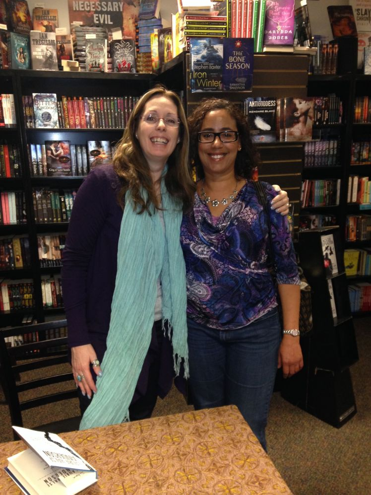 Laurie Halse Anderson and me at Alamosa Books in Albuquerque, NM on January 10, 2014.
