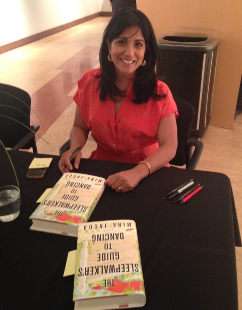 "Mira Jacob signs ""The Sleepwalker's Guide to Dancing"" at A Word with Writers event sponsored by Bookworks to benefit the Albuquerque Public Library Foundation."